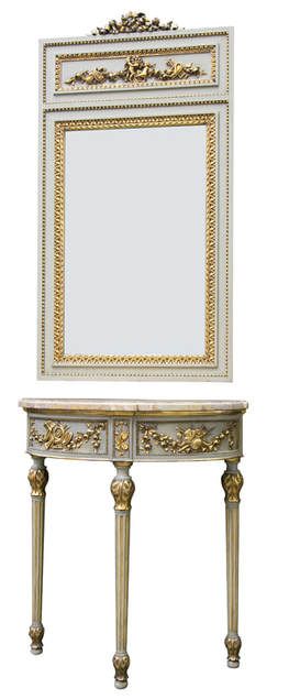 Lolo French Antiques Louis XVI Style Painted and Gilded Demilune Console with Trumeau Mirror