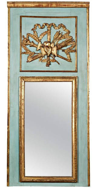 Lolo French Antiques Louis XVI Period Painted and Parcel-Gilt Marriage Trumeau Mirror
