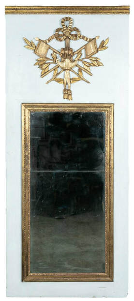 Lolo French Antiques 19th Century French Louis XVI Style Painted and Parcel-Gilt Trumeau Mirror